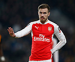 Aaron Ramsey of Arsenal reassures his colleague while holding his back - English FA Cup - Hull City vs Arsenal - The KC Stadium - Hull - England - 8th March 2016 - Picture Simon Bellis/Sportimage