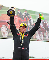 Aug 19, 2018; Brainerd, MN, USA; NHRA top fuel driver Billy Torrence celebrates after winning the Lucas Oil Nationals at Brainerd International Raceway. Mandatory Credit: Mark J. Rebilas-USA TODAY Sports
