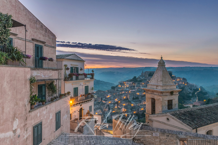 Europe, Italy, Sicily, Ragusa, Looking Down on Ragusa Ibla at Sunrise
