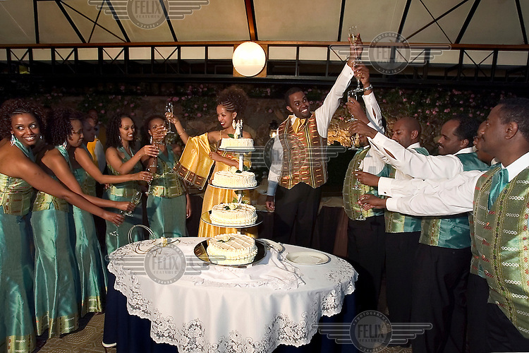 Wedding party of an Orthodox couple.
