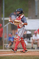 Johnny Gonzalez (18) during the WWBA World Championship at the Roger Dean Complex on October 12, 2019 in Jupiter, Florida.  Johnny Gonzalez attends Warren High School in Lynwood, CA and is committed to Long Beach State.  (Mike Janes/Four Seam Images)