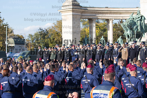Police officers take oath on Heroes square in Budapest, Hungary on Oct. 9, 2017. ATTILA VOLGYI
