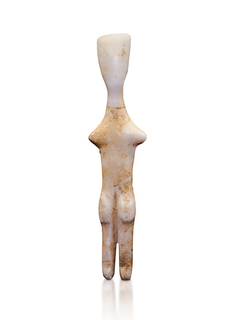Abstract Cycladic figurine , Louris type, from Naxos, 2800-2500 BC, Museum of Cycladic Art Athens,  Against white.<br /> <br /> The figurine has no facial features and is of no determinable sex. The figureine is of the Louros typle, named after a site in Naxos and with stuby arms is considered to be an abstract development of the Plastiras type, of which it retains such traits and naturalistically separated legs and horizontal feet. The arms have been reduced to two protuberances at shoulder level and all anitomical features have virtually disappeared.
