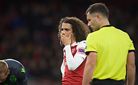 Mattéo Guendouzi of Arsenal reaction as Danny Welbeck of Arsenal sits injured during the UEFA Europa League group match between Arsenal and Sporting Clube de Portugal at the Emirates Stadium, London, England on 8 November 2018. Photo by Andrew Aleks / PRiME Media Images.<br /> .<br /> (Photograph May Only Be Used For Newspaper And/Or Magazine Editorial Purposes. www.football-dataco.com)