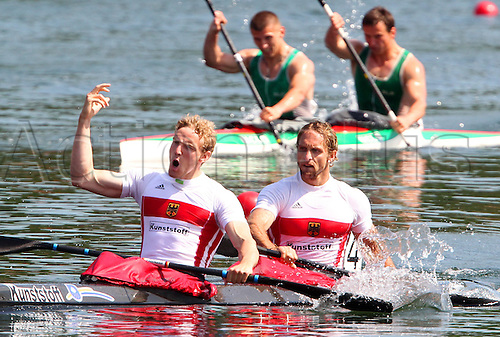 Germany's Martin Hollstein and Andreas Ihle win the 1,000m Men Kayak in Duisburg, Germany, 04 June 2010. Duisburg's ragatta track hosts the 2010 ICF Canoe and Kayak Sprint World Cup until 06 June.