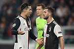 Cristiano Ronaldo of Juventus discusses with Miralem Pjanic during the UEFA Champions League match at Juventus Stadium, Turin. Picture date: 26th November 2019. Picture credit should read: Jonathan Moscrop/Sportimage