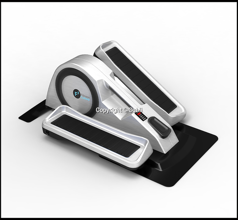 BNPS.co.uk (01202 558833)<br /> Pic: Cubii/BNPS<br /> <br /> ***Please Use Full Byline***<br /> <br /> The Cubii. <br /> <br /> A miniature exercise machine has been invented so that workers can burn calories while they sit in the office.<br /> <br /> The new gadget sits underneath a desk and looks like a mixture between a cross trainer and a bicycle.<br /> <br /> A user simply has to sit on their normal chair, place their feet on the two pedals, and then rotate them for the device to work.<br /> <br /> It can burn between 100 and 110 calories per hour and will fit underneath any desk due to its compact size.<br /> <br /> The machine, known as Cubii, is completely portable and has a handle so it can be easily moved or placed inside a rucksack.<br /> <br /> It measures 2ft long, 1ft 3ins wide, and 10ins tall.<br /> <br /> The gadget is also engrained with Bluetooth technology that links up to a mobile phone app so users can track their exercise.<br /> <br /> It was invented by Arnav Dalmia, 23, who is from Chicago in the USA.