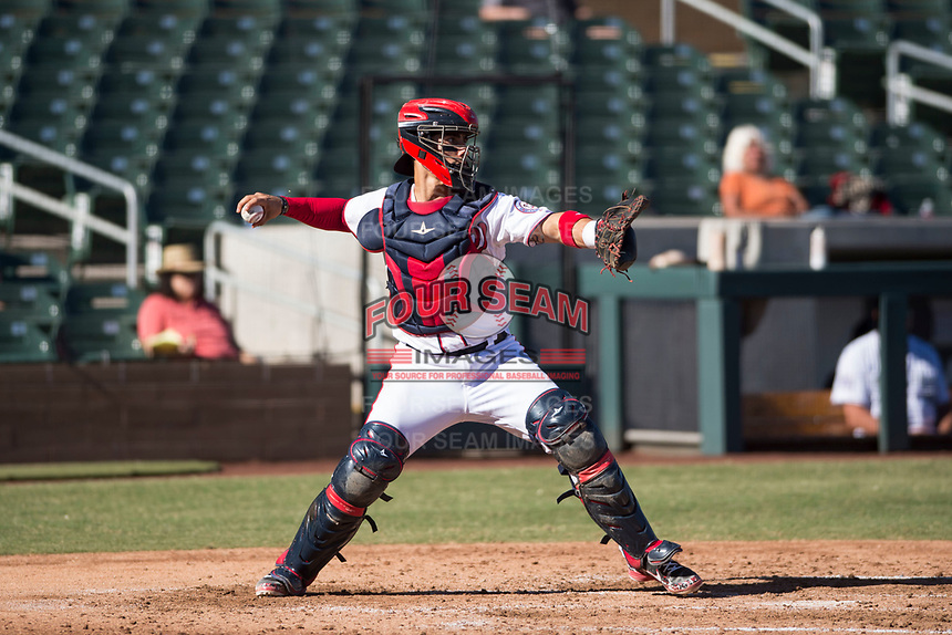 Salt River Rafters catcher Tres Barrera (12), of the Washington Nationals organization, throws to second base during an Arizona Fall League game against the Glendale Desert Dogs at Salt River Fields at Talking Stick on October 31, 2018 in Scottsdale, Arizona. Glendale defeated Salt River 12-6 in extra innings. (Zachary Lucy/Four Seam Images)