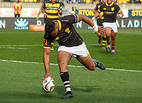 Julian Savea scores during the Mitre 10 Cup rugby match between Wellington Lions and Taranaki at Westpac Stadium in Wellington, New Zealand on Saturday, 27 August 2016. Photo: Mike Moran / lintottphoto.co.nz