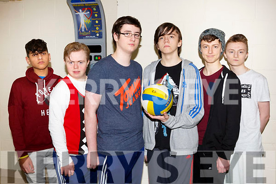 Coláiste Gleann Lí students attending the Spike Ball blitz at the Tralee Sports Complex on Thursday last, l-r, Kevin Bunea, Liam Purcell, Max Anhalt, Liam Bennet, Jack Erahdun and Wiktor Danilewicz.