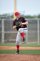 Relief pitcher Austin Brown (22) of the Canada Junior National Team delivers a pitch during an exhibition game against a Boston Red Sox minor league team on March 31, 2017 at JetBlue Park in Fort Myers, Florida.  (Mike Janes/Four Seam Images)