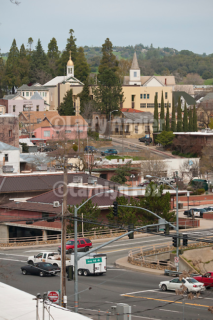 Downtown Jackson, California, during spring.