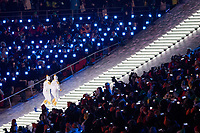 PYEONGCHANG,SOUTH KOREA,09.FEB.18 - OLYMPICS - Olympic Winter Games PyeongChang 2018, official opening ceremony. Image shows the torchbearers with the Olympic flame. Photo: GEPA pictures/ Matic Klansek / Copyright : Explorer-media