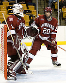 Kyle Richter (Harvard University - Calgary, AB), Brian McCafferty (Harvard University - Lexington, MA) - The Boston College Eagles defeated the Harvard University Crimson 3-1 in the first round of the 2007 Beanpot Tournament on Monday, February 5, 2007, at the TD Banknorth Garden in Boston, Massachusetts.  The first Beanpot Tournament was played in December 1952 with the scheduling moved to the first two Mondays of February in its sixth year.  The tournament is played between Boston College, Boston University, Harvard University and Northeastern University with the first round matchups alternating each year.