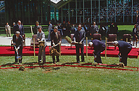 McLean, Virginia, USA, May 24, 1984<br /> President Ronald Reagan along with Vice-President  George H.W. Bush, and WIlliam Casey, Stansfield Turner, dig shovels full of dirt at the ground breakkng of the new George H.W. Bush CIA Building. Credit: Mark Reinstein/MediaPunch