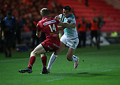 29th September 2017, Parc y Scarlets, Llanelli, Wales; Guinness Pro14 Rugby, Scarlets versus Connacht; Tiernan O'Halloran of Connacht charges up the field but runs into Johnny Mcnicholl of Scarlets