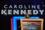 Caroline Kennedy, daughter of former U.S. President John F. Kennedy, speaks at the Democratic National Convention at the Pepsi Center in Denver, Colorado on August 25, 2008.