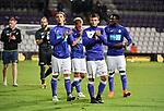 2018-08-10 / Voetbal / Seizoen 2018-2019 / KFCO Beerschot-Wilrijk - KVC Westerlo / Deolpuntmaker Dante Vanzeir (2e van rechts) groet de supporters na de wedstrijd<br /> <br /> ,Foto: Mpics