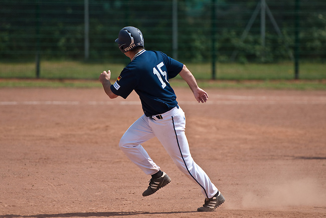DARMSTADT, GERMANY - JUNE 02: 2. Bundesliga match between Darmstadt Whippets (black) and Heidenheim Heideköpfe (darkblue) at Memory Field sports ground on June 02, 2012 in Darmstadt, Germany. (Photo by Dirk Markgraf)