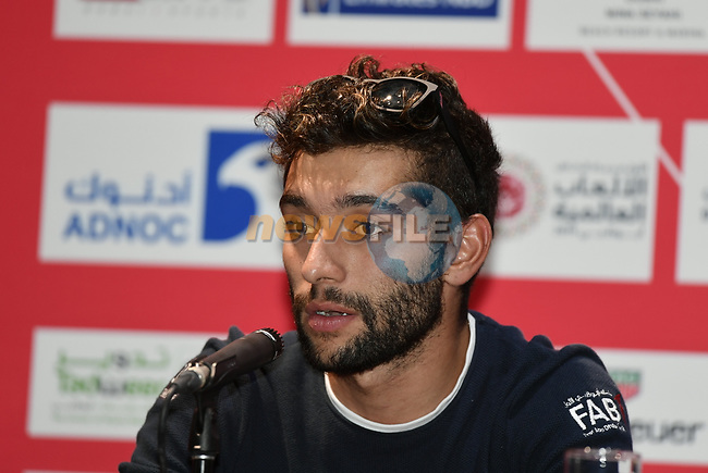 The 2019 UAE Tour Fernando Gaviria (COL) UAE Team Emirates spoke to the media this afternoon in Louvre Abu Dhabi, United Arab Emirates. 23rd February 2019.<br />