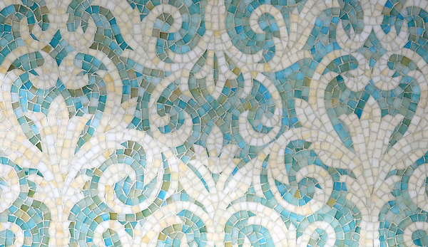 Serena jewel glass mosaic in Aquamarine and Quartz.