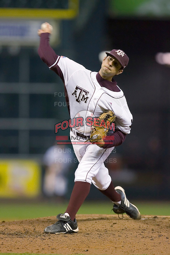 Relief pitcher Travis Starling #41 of the Texas A&M Aggies in action versus the Houston Cougars in the 2009 Houston College Classic at Minute Maid Park March 1, 2009 in Houston, TX.  The Aggies defeated the Cougars 5-3. (Photo by Brian Westerholt / Four Seam Images)