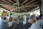August 15, 2014, Tokyo, Japan - A religious ceremony is conducted to offer prayers to the war dead<br /> at Chidorigafuchi National Cemetery in Tokyo on Friday, August 15, 2014, as Japan observes the 69th anniversary of the nation's surrender in World War II.  (Photo by Katsumi Kasahara/AFLO) AYF -mis-