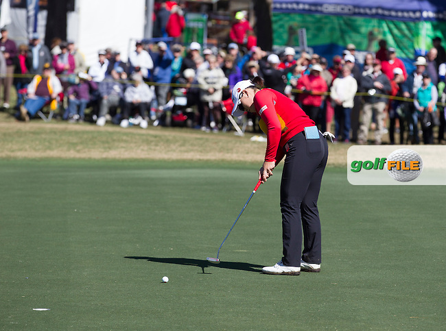 Ha Ha Jang  sinking her putt to take the lead at the end of the continuation of the Second round of the LPGA Coates Golf Championship 2016 , from the Golden Ocala Golf and Equestrian Club, Ocala, Florida. 5/2/16<br /> Picture: Mark Davison | Golffile<br /> <br /> <br /> All photos usage must carry mandatory copyright credit (&copy; Golffile | Mark Davison)