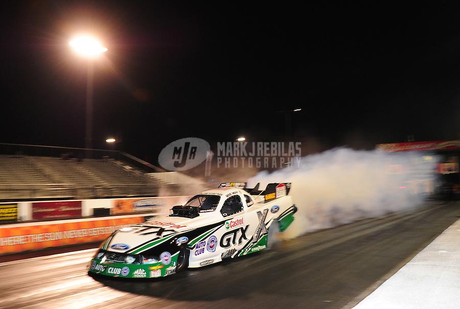 Jan. 19, 2012; Jupiter, FL, USA: NHRA funny car driver Mike Neff during testing at the PRO Winter Warmup at Palm Beach International Raceway. Mandatory Credit: Mark J. Rebilas-