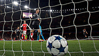 Robert Lewandowski of Bayern Munich celebrates after scoring from the penalty spot during the UEFA Champions League round of 16 match between Arsenal and Bayern Munich at the Emirates Stadium, London, England on 7 March 2017. Photo by Alan  Stanford / PRiME Media Images.