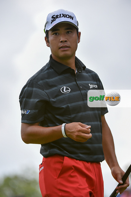 Hideki Matsuyama (JPN) after sinking his putt on 12 during 1st round of the World Golf Championships - Bridgestone Invitational, at the Firestone Country Club, Akron, Ohio. 8/2/2018.<br /> Picture: Golffile   Ken Murray<br /> <br /> <br /> All photo usage must carry mandatory copyright credit (© Golffile   Ken Murray)