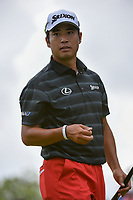 Hideki Matsuyama (JPN) after sinking his putt on 12 during 1st round of the World Golf Championships - Bridgestone Invitational, at the Firestone Country Club, Akron, Ohio. 8/2/2018.<br /> Picture: Golffile | Ken Murray<br /> <br /> <br /> All photo usage must carry mandatory copyright credit (&copy; Golffile | Ken Murray)