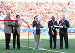 01 July 2007: In a ribbon cutting ceremony, Canadian Finance Minister Jim Flaherty (center) declares the games open with FIFA Vice-President Jack Warner (2nd from right), Canada Soccer Association President Colin Linford (right), Mayor of Toronto David Miller (left). At the National Soccer Stadium, also known as BMO Field, in Toronto, Ontario, Canada. Chile's Under-20 Men's National Team defeated Canada's Under-20 Men's National Team 3-0 in a Group A opening round match during the FIFA U-20 World Cup Canada 2007 tournament.