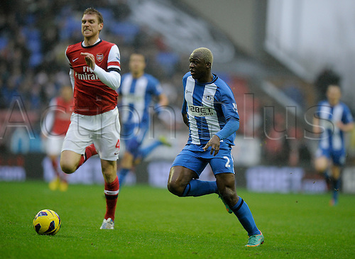 22.12.2012 Wigan, England. Arouna Kone  of Wigan in action during the Premier League game between Wigan Athletic and Arsenal at the DW Stadium.