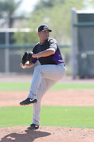 Patrick Johnson #47 of the Colorado Rockies pitches during a Minor League Spring Training Game against the San Francisco Giants at the Colorado Rockies Spring Training Complex on March 18, 2014 in Scottsdale, Arizona. (Larry Goren/Four Seam Images)