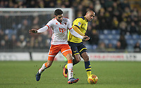 Blackpool's Kelvin Mellor battles with Oxford United's Wes Thomas<br /> <br /> Photographer Mick Walker/CameraSport<br /> <br /> The EFL Sky Bet League One - Rochdale v Blackpool - Monday 1st January 2018 - Spotland Stadium - Rochdale<br /> <br /> World Copyright &copy; 2018 CameraSport. All rights reserved. 43 Linden Ave. Countesthorpe. Leicester. England. LE8 5PG - Tel: +44 (0) 116 277 4147 - admin@camerasport.com - www.camerasport.com