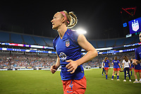 CHARLOTTE, NC - OCTOBER 03: Becky Sauerbrunn #4 of the United States warms up prior to their game versus Korea Republic at Bank of American Stadium, on October 03, 2019 in Charlotte, NC.