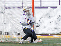University at Albany Men's Lacrosse defeats Cornell 11-9 on Mar 4 at Casey Stadium.  J.D.  Colarusso (#9) saves.