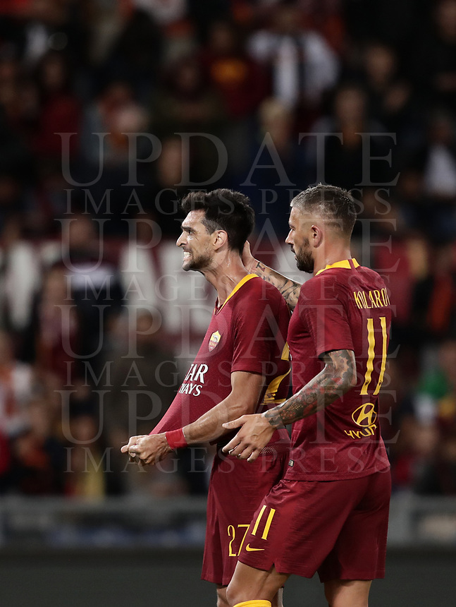 Football, Serie A: AS Roma - Frosinone, Olympic stadium, Rome, 26 September 2018. <br /> Roma's Javier Pastore (l) celebrates after scoring with his teammate Aleksandar Kolarov (r) during the Italian Serie A football match between AS Roma and Frosinone at Olympic stadium in Rome, on September 26, 2018.<br /> UPDATE IMAGES PRESS/Isabella Bonotto