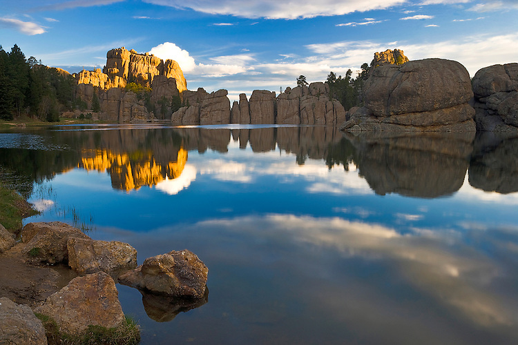 Sunrise reflections on Sylvan Lake in Custer State Park, SD