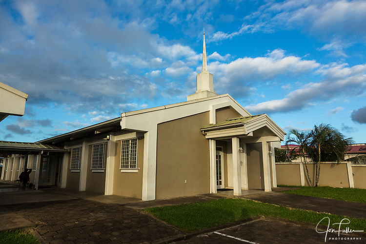Meetinghouse or chapel of the Church of Jesus Christ of Latter-day Saints, or Mormons, in Paramaribo, Suriname.