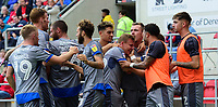 Lincoln City's Harry Anderson, fourth in from right, celebrates scoring his side's second goal with team-mates<br /> <br /> Photographer Chris Vaughan/CameraSport<br /> <br /> The EFL Sky Bet Championship - Rotherham United v Lincoln City - Saturday 10th August 2019 - New York Stadium - Rotherham<br /> <br /> World Copyright © 2019 CameraSport. All rights reserved. 43 Linden Ave. Countesthorpe. Leicester. England. LE8 5PG - Tel: +44 (0) 116 277 4147 - admin@camerasport.com - www.camerasport.com