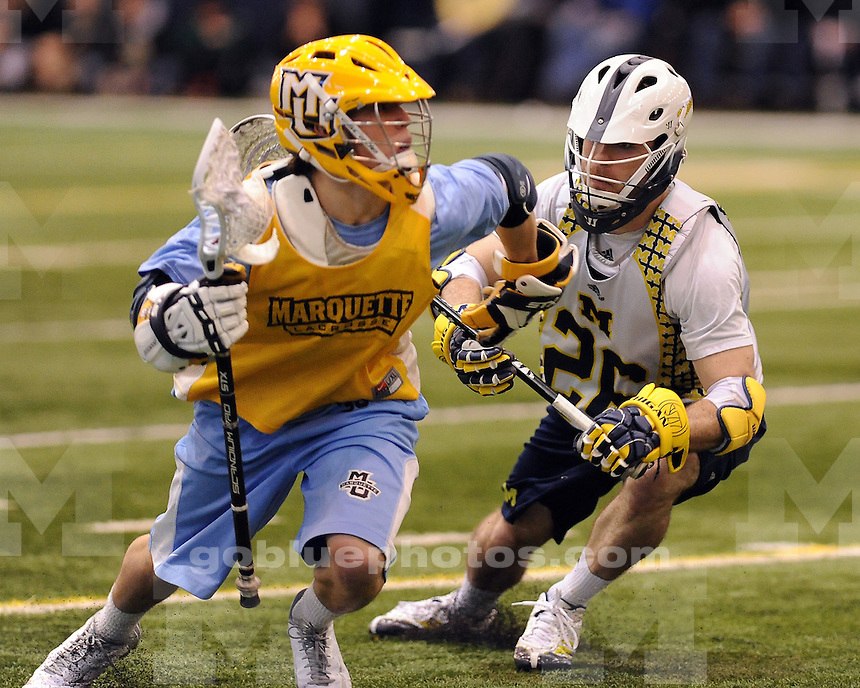 The University of Michigan men's lacrosse team beat Marquette, 14-6, in exhibition play at Oosterbaan Field House in Ann Arbor, Mich., on February 2, 2013.