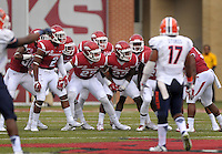 NWA Democrat-Gazette/BEN GOFF @NWABENGOFF<br /> Arkansas players rally before kicking off to UTEP on Saturday Sept. 5, 2015 during the first quarter of the game in Razorback Stadium in Fayetteville.