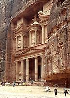 The Treasury Building facade in the Nabatean city of Petra, Jordan