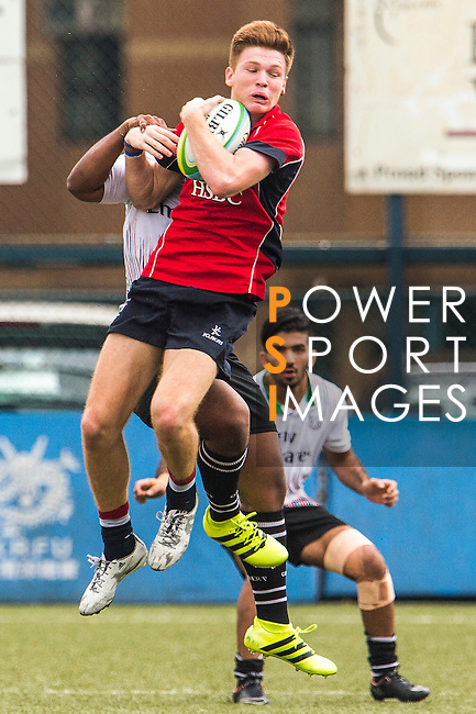 Liam Herbert of Hong Kong wins the line out ball during the match between Hong Kong and United Arab Emirates of the Asia Rugby U20 Sevens Series 2016 on 12 August 2016 at the King's Park, in Hong Kong, China. Photo by Marcio Machado / Power Sport Images