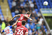 9th September 2017, Madejski Stadium, Reading, England; EFL Championship football, Reading versus Bristol City; Aden Flint of Bristol City heads the ball clear