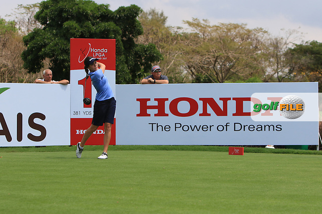 Georgia Hall (ENG) on the 11th tee during Round 1 of the Honda LPGA Thailand on Thursday 23rd February 2017.<br /> Picture:  Thos Caffrey / Golffile