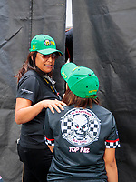 Sep 29, 2019; Madison, IL, USA; NHRA pro stock motorcycle rider Jianna Salinas (right) with mother Monica Salinas during the Midwest Nationals at World Wide Technology Raceway. Mandatory Credit: Mark J. Rebilas-USA TODAY Sports