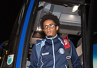 Sido Jombati of Wycombe Wanderers arrives ahead of the Sky Bet League 2 match between Colchester United and Wycombe Wanderers at the Weston Homes Community Stadium, Colchester, England on 21 February 2017. Photo by Andy Rowland / PRiME Media Images.